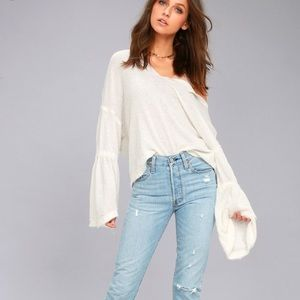We The Free Dahlia White Thermal Long-Sleeve Top